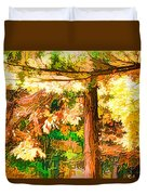 Bright Colored Leaves On The Branches In The Autumn Forest Duvet Cover