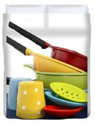 Bright Colorful Modern Kitchen Pot And Pans  Duvet Cover