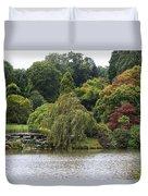 Bright Colors Of Autumn Trees On A Lake , Autumn Landscape. Duvet Cover