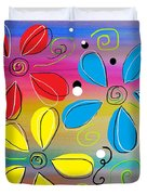 Bright Flowers Intertwined Duvet Cover