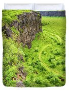 Bright Green Asbyrgi Canyon In Iceland Duvet Cover