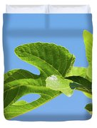 Bright Green Fig Leaf Against The Sky Duvet Cover