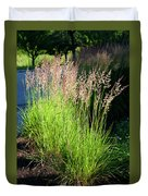 Bright Green Grass By The Pond Duvet Cover