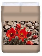 Bright Orange Cactus Blossoms Duvet Cover