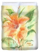 Bright Orange Flower Duvet Cover