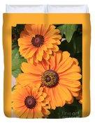 Bright Orange Flowers  Duvet Cover