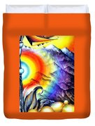 Bright Rainbow And Mountains. Cyborg's Land Duvet Cover