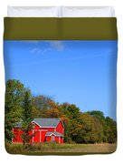 Bright Red Barn Duvet Cover
