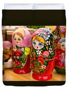 Bright Russian Matrushka Puzzle Dolls Duvet Cover