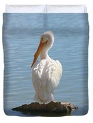 Bright White Pelican Duvet Cover
