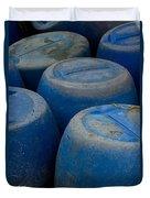 Brightly Colored Blue Barrels Duvet Cover