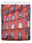 Brightly Colored Facade Of Cooperative Business Bank Building Or Duvet Cover