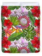 Brightly Colored Tropical Flowers And Ferns  Duvet Cover