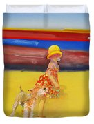 Brightly Painted Wooden Boats With Terrier And Friend Duvet Cover