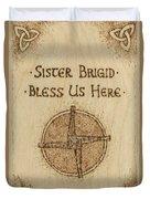 Brigid's Cross Blessing Woodburned Plaque Duvet Cover