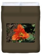 Brilliant Orange Tulip Flower Blossom Blooming In Spring Duvet Cover