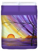 Brilliant Purple Golden Yellow Huge Abstract Surreal Tree Ocean Painting Royal Sunset By Madart Duvet Cover