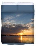 Brilliant Toronto Skyline Sunrise Over Lake Ontario Duvet Cover