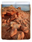 Brilliantly Colored Sandstone At Sunrise In Valley Of Fire Duvet Cover