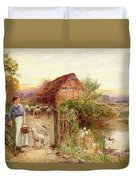 Bringing Home The Sheep Duvet Cover by Ernest Walbourn