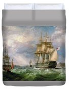 British Men-o'-war Sailing Into Cork Harbour  Duvet Cover