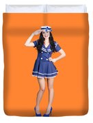 British Navy Blue Pin Up Girl Saluting Duvet Cover