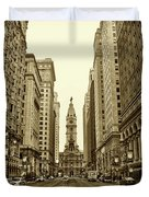 Broad Street Facing Philadelphia City Hall In Sepia Duvet Cover