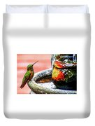 Broad-tailed Hummingbird At Water Fountain Duvet Cover