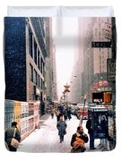 Broadway And 42nd Street 1985 Duvet Cover