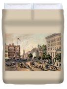 Broadway In The Nineteenth Century Duvet Cover by Augustus Kollner
