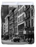 Broadway, New York In Black And White Duvet Cover