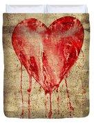 Broken And Bleeding Heart On The Wall Duvet Cover