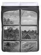 Broken Window In Black And White Duvet Cover