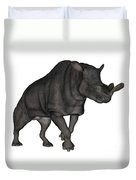 Brontotherium Isolated On White Duvet Cover