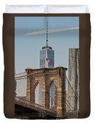 Brooklyn Bridge And One World Trade Center In New York City  Duvet Cover