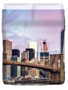 Brooklyn Bridge And Skyline At Sunrise, New York, Usa Duvet Cover