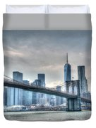 Brooklyn Bridge And The Lower Manhattan Financial District Duvet Cover