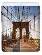 Brooklyn Bridge At Sunset, New York, Usa Duvet Cover