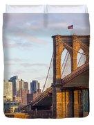 Brooklyn Bridge At Sunset Duvet Cover