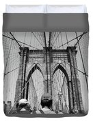Brooklyn Bridge In Black And White Duvet Cover