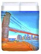 Brooklyn Bridge New York Pop Art Duvet Cover