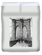 Brooklyn Bridge Promenade 1898 - New York Duvet Cover