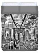 Brooklyn Bridge Walkway   B  And  W Duvet Cover