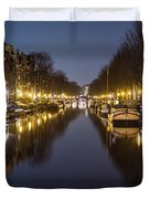 Brouwersgracht Canal In Amsterdam At Night. Duvet Cover