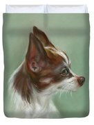 Brown And White Chihuahua Duvet Cover by MM Anderson