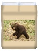 Brown Bear Cub Turns To Look Back Duvet Cover