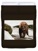Brown Bear Eating Salmon Tail Beside Rocks Duvet Cover