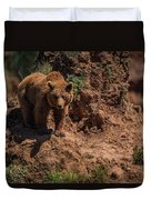 Brown Bear Watches From Steep Rocky Outcrop Duvet Cover