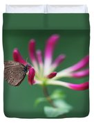 Brown Butterfly Resting On The Pink Plant Duvet Cover