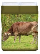Brown Cow Grazing Duvet Cover